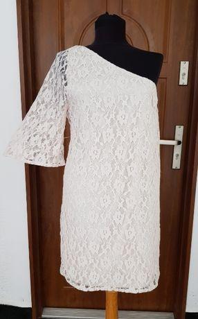 Дамска рокля дантела - цвят пепел от рози размер S-ХS
