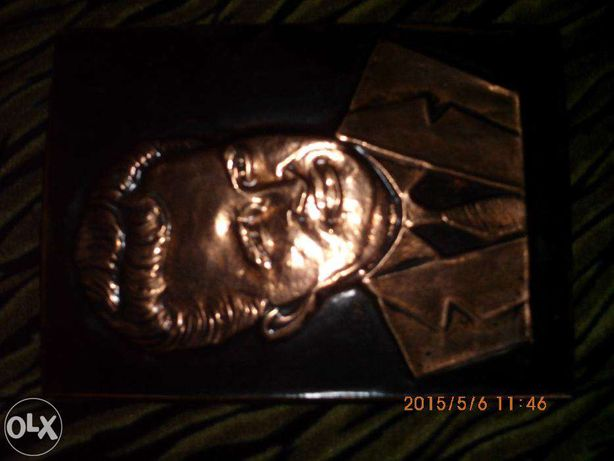 vand tablou scultat an foita de cupru NICOLAI CEUSESCU1970