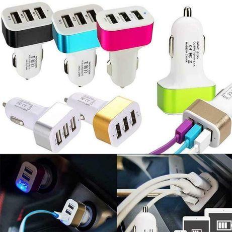 Зарядно,адаптер, кабел за кола,автомобил с 3 USB порт,телефон,смартфон
