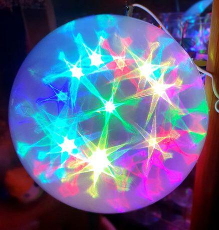 Lampa glob 30 cm cu lumini multicolore si rotitoare, perfect Sarbatori