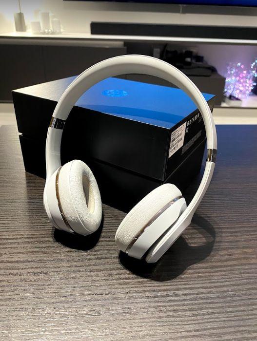 Casti audio cu banda Beats Solo 3 by Dr. Dre, Wireless, Albe
