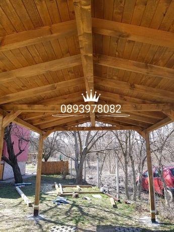 Навеси на тераси изграждане на дървени навеси беседки