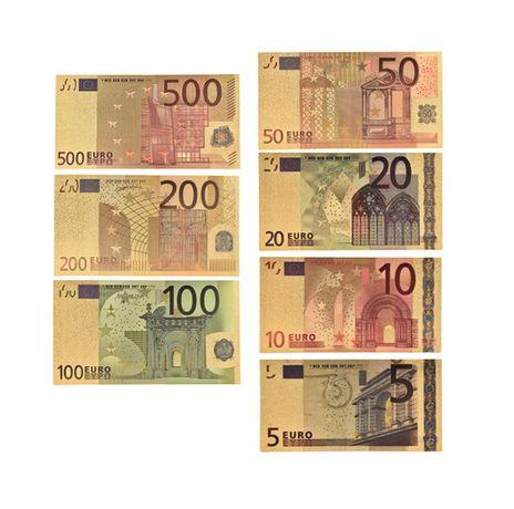 Златни Евро банкноти , Комплект 7 бр. 5,10,20,50,100,200 и 500 Евро ,