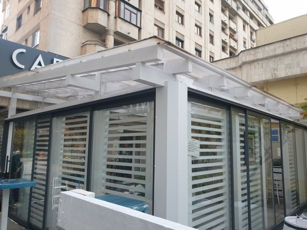 Inchidere terasa restaurant pub cu sticlă securizata sau folie