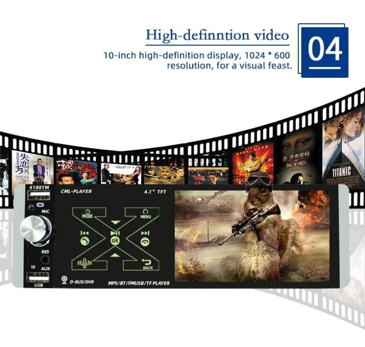 "Casetofon Video 4,1"" DVD Mp3 Auto 1Din USB- Navigatie.prin Mirrorlink"