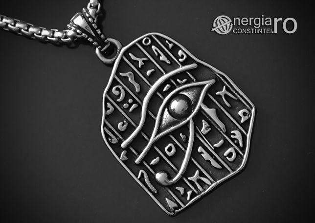 Pandantiv Ochiul RA / Horus, Amuletă, Talisman, Medalion, INOX