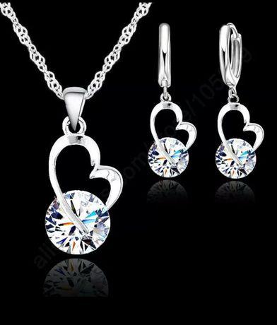 Set bijuterii mai frumoase ca in poze 925 cercei pandantiv și lănțișor