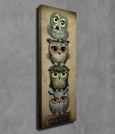 Superb tablou efect 3D - 4 BUFNITE INTELEPTE auriu/bronz /panza canvas