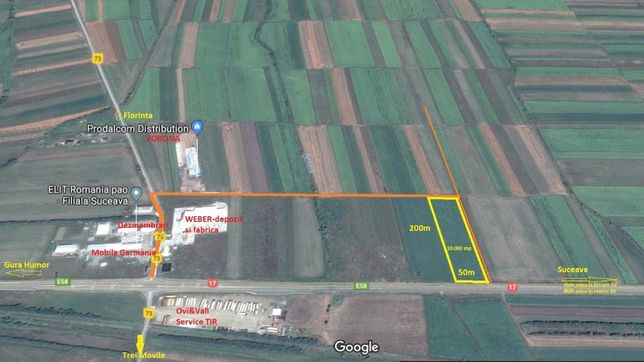 Teren 10.000 mp langa Weber, Vorona, la DN E58 spre Gura Humorulu