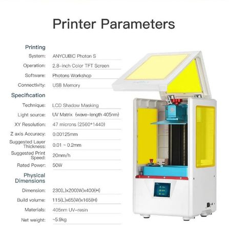 ANYCUBIC Photon S LCD/DLP/SLA UV смола 3D Printer 3Д Принтер