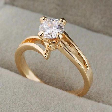 GR500,inel placat aur 18k, model logodna, zircon alb fatetat