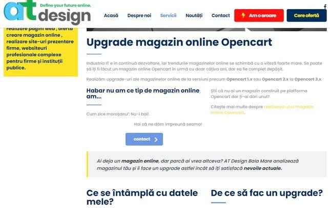 Upgrade magazin online Opencart