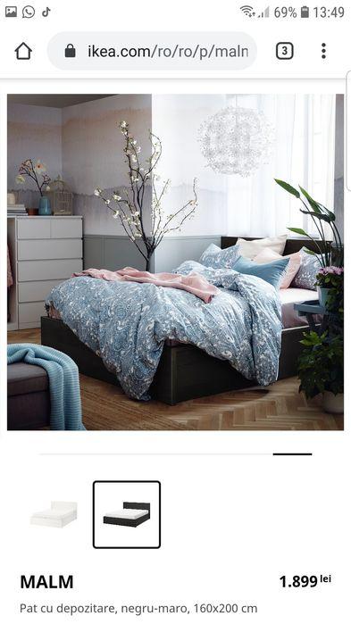 Pat dublu 160/200  matrimonial + somiera Ikea Malm Transport gratuit ! Bucuresti - imagine 1