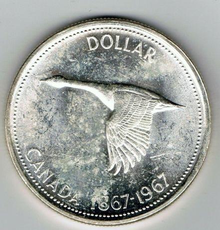 Moneda argint 1 dolar 1967 Canada   silver one dollar coin 23g