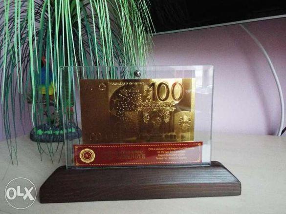 Сувенирна златна банкнота 100 евро в стъклена поставка и сертификат