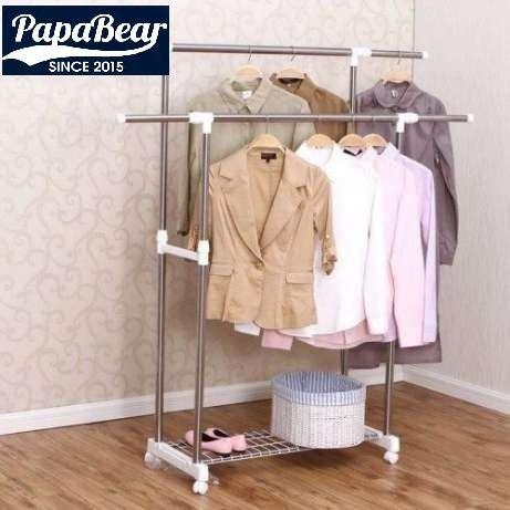 Вешалка для одежды двойная с полкой / гардеробная (СКИДКА!)