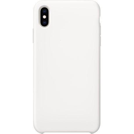 Husa Silicon iPhone XS Max, XR, microfibra interior Alb