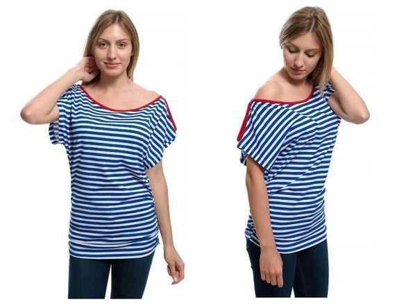 Нова дамска ефектна моряшка блуза-туника на райе