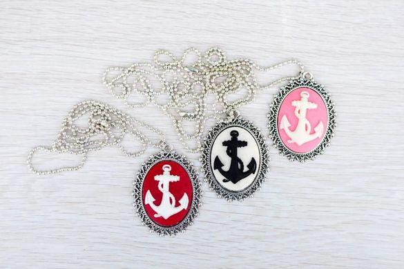 арт медальон ,колие, бижу с котва/котви/море ръчна изработка