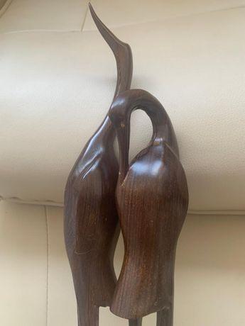 Set 2x pasari lemn decoratiune vintage 42&32 cm 1990 impecabil ca nou