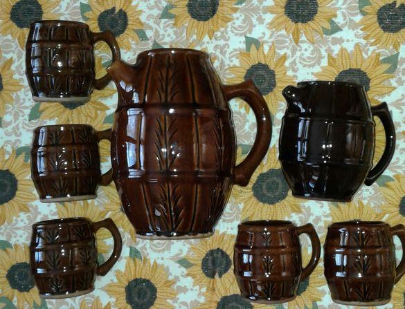 Сервиз троянска керамика - 2 канички и 5 чаши