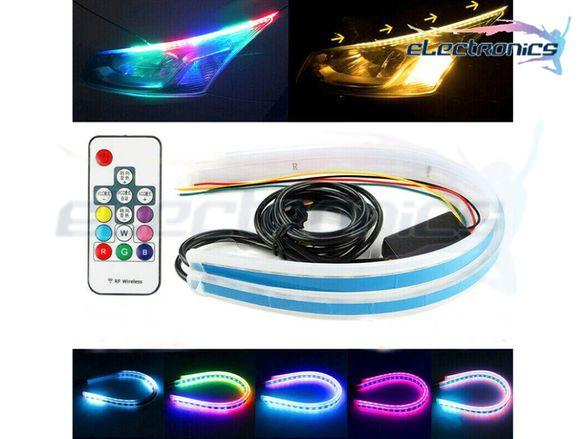 60см Дневни светлини DRL с плаващ мигач + RGB дистанционно гъвкави