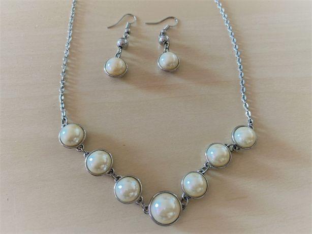 Vand set cercei + lantisor argint pietre albe (perle)