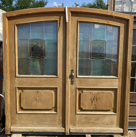 Usa casa firma intrare boltita lemn geam termo vitraliu H 220 x L 217
