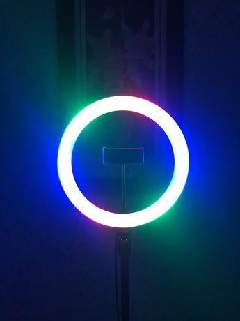 Цветная кольцевая лампа 26 см