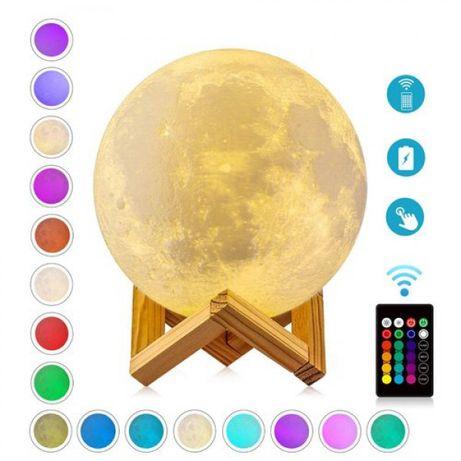 Атрактивна лампа луна 16 цвята с дистанционно