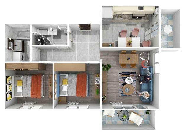 Avangarde City apartament 3 camere 64 mp utili