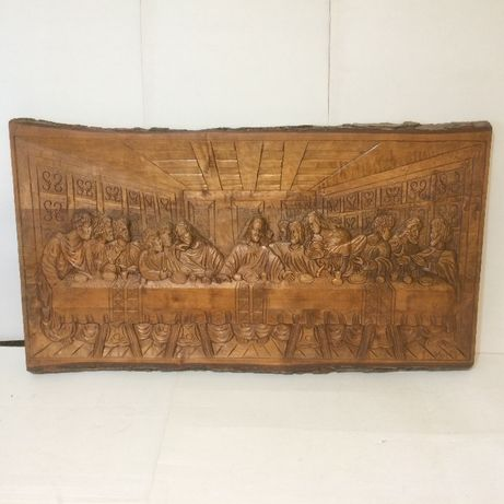 sculptura lemn cina cea de taina
