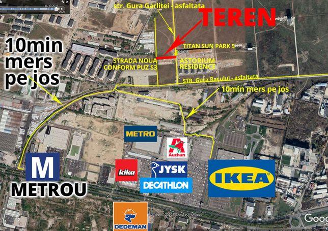 teren 1023mp zona pallady, asfalt, utilitati, metrou, ikea, Auchan