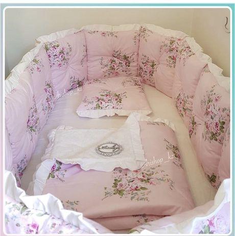 бортики на кроватку, одеяло,простыня на резинке, балдахин с держателем