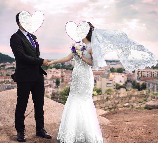 Продавам много красива сватбена рокля + подарък воал