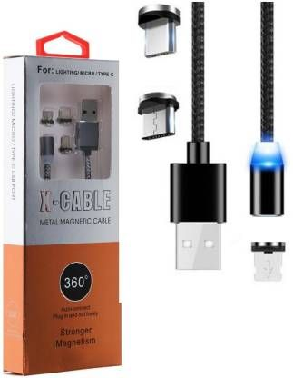 Cablu alimentare USB 3in1 microusb/Iphone/tip C magnetic