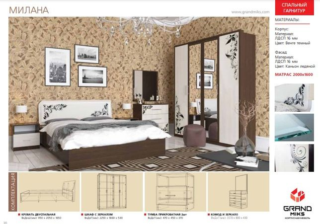 Спальный гарнитур Милана 4 да мебель со склада самые низкие цены