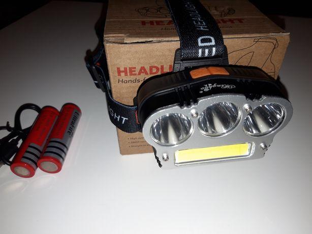 Lanterna Frontala 3LED T6 + COB LED Alb Rosu 2x18650 Slot USB