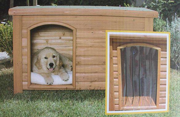 Вратичка за кучешка къщичка. Предпазва от вятър, дъжд и насекоми.