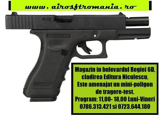 Pistol Glock18C WE airsoft recul puternic