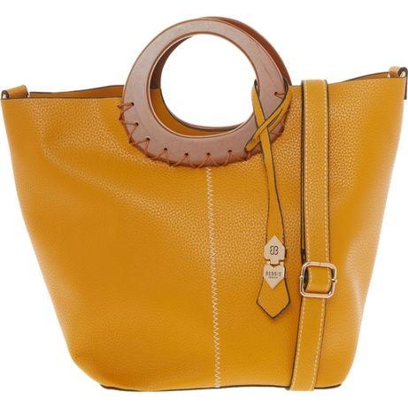Чанта в жълто с дървени дръжки