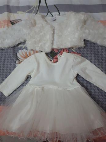 Белое платье с балеро на годик