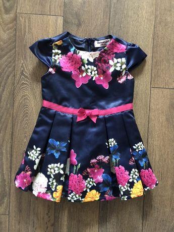 Детска плисирана сатенена рокля с цветя, детски поли - 12 месеца