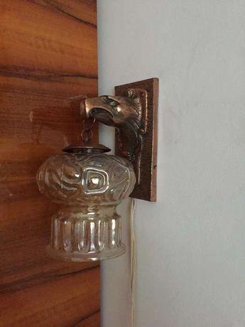 Lampa superba vintage metal sticla pasare pradatoare vultur - 800 RON