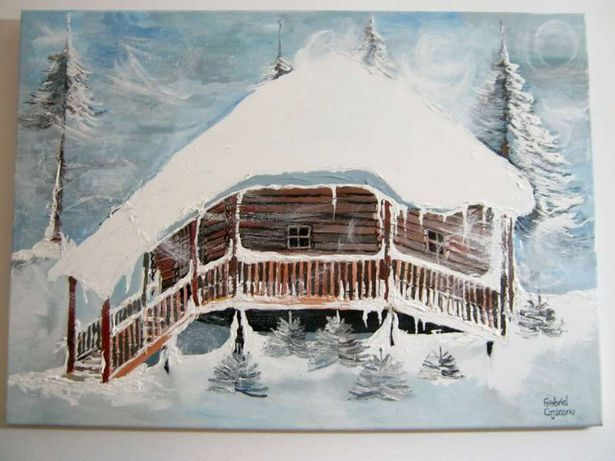 """tablou """"iarna la munte""""- peisaj iarna 70x50cm"""