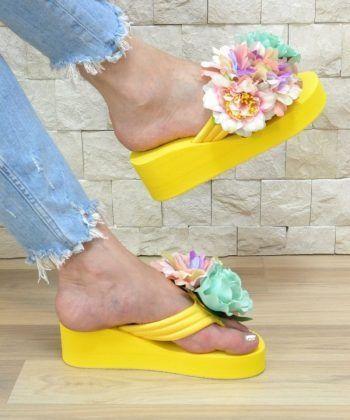 Дамски чехли 3D цветя