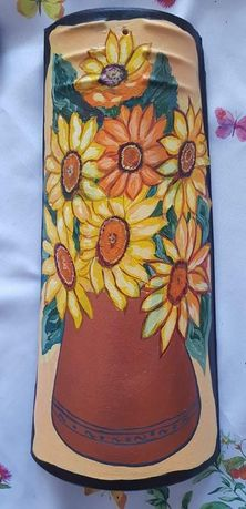 Ръчно рисувана керемида Слънчогледи