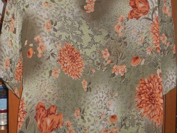 Летен костюм от блуза и пола на цветя