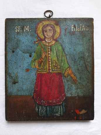 Icoana veche pe lemn, Sfânta Mucenita Filofteia de la Argeș, sec. XIX