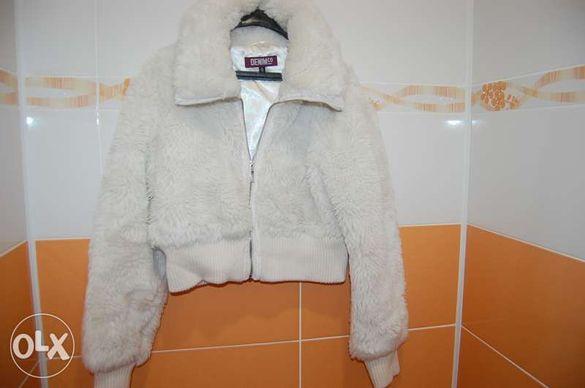 Дамско пухено яке DENIM бяло размер М внос от Англия